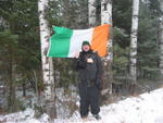 Here I am standing in front of the Irish flag.  There were no other Irishmen anywhere to be seen.  I'm only 1/4 Irish though. Photo by Gustavo