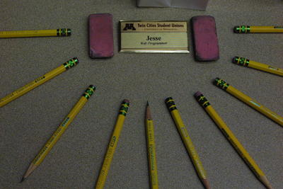 Pencils and Name Badge
