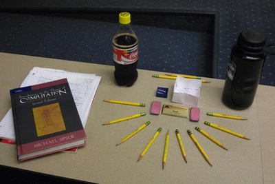 Computational Complexity Book With Pencils, Coke, and Nalgene