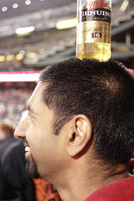 Bharat wears a beer
